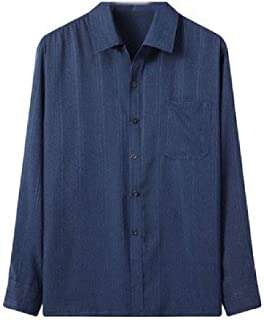 MogogN Mens Linen Buttoned Relaxed Fit Long-Sleeve Business Solid-Colored Shirt