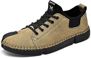 LIEBE721 Chaussures à Lacets Rétro pour Hommes Mocassins Homme Daim Respirantes Mocassins Homme Cuir Souple
