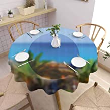 Abstract Restaurant Round Tablecloth Sealife Summer Time Season Hot Happy Sunny Blurry Palms Landscape Photo Image and Durable Diameter 50 inch Multicolor