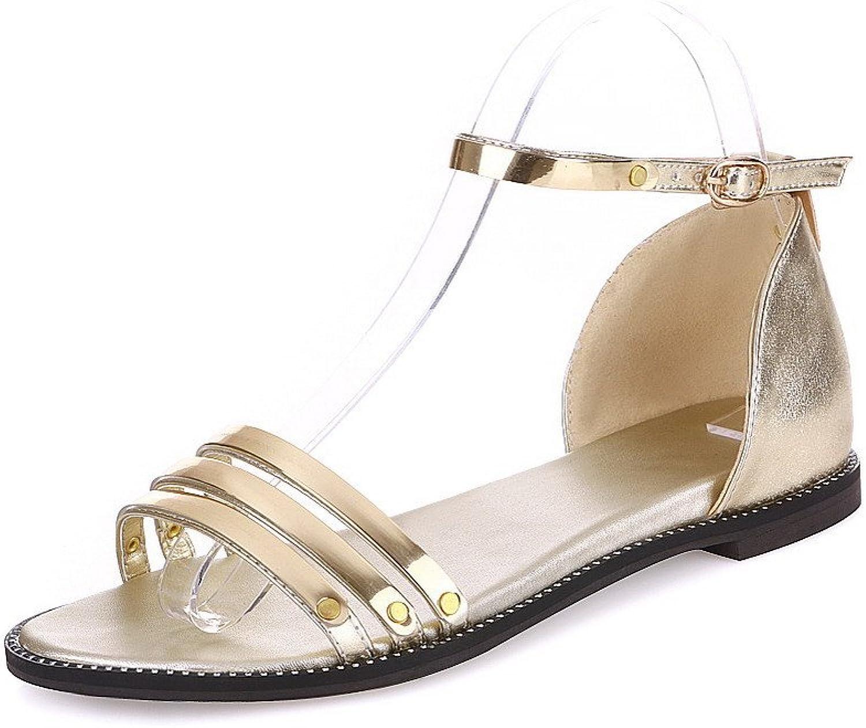 WeiPoot Women's Open Toe Low-Heels Patent Leather Solid Buckle Sandals