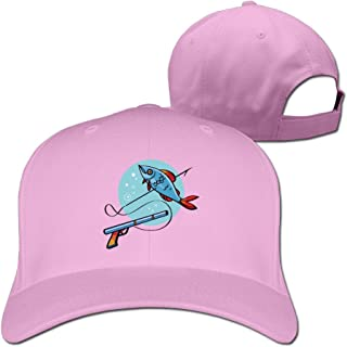 FASN Funny Spear Fishing Cartoon Peaked Baseball Cap With Black