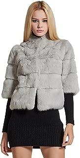 Fur Story Women's Genuine Rabbit Fur Coat Winter Warm Fur Jacket with Half Sleeves
