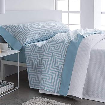 Barceló Hogar 03060160611 Juego de sábanas, modelo Estocolmo, algodón 100%, azul, 150 cm: Amazon.es: Hogar