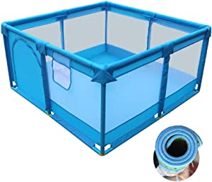 Playpen YXX- Baby Fence for Beach  Portable Boys Girls Blue Playard  Infant Toddler Safety Play Pen  Anti-Skid Pads Included  Easy Assembly  Size 128 128 66cm