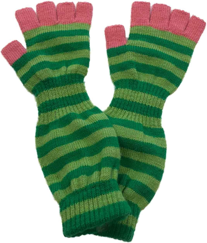 Urbanology Womens Long Green & Pink Stripe Fingerless Knit Gloves