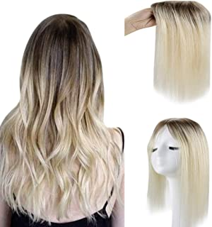 Full Shine Toppers Hair Extensions 10 Inch Remy Human Hair Crown Mono Base 6.5 Inch x 2.25 Inch Ombre Color 3 Shadow Roots...