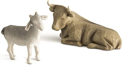 Willow Tree hand-painted sculpted figures, Ox and Goat, 2-piece set