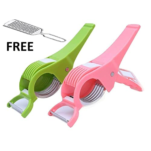 ShopToShop Vegetable Cutter with Peeler, Multicolored (Set of 2)