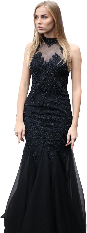 Belle House Women's Sexy Long Evening Dress Formal Mermaid Prom Dress 2018 Sheer Neck Ball Gown