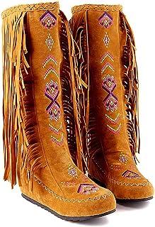 Xiangdanful Dames mocassin laarzen Embroidery enkellaarsjes platte schoenen suède laarzen halve schacht laarzen warme pluc...