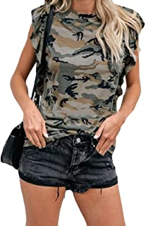 Comaba Womens Flouncing Camouflage Printing Scoop Neck Fashional Tees Pullover Top