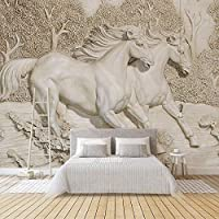 RTYUIHN 壁紙3Dエンボス加工された白い馬の壁紙リビングルーム寝室ソファテレビ家の装飾背景壁画