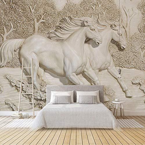 RTYUIHN Wallpaper 3D goffrato cavallo bianco carta da parati soggiorno camera da letto divano TV decorazione della casa sfondo murale