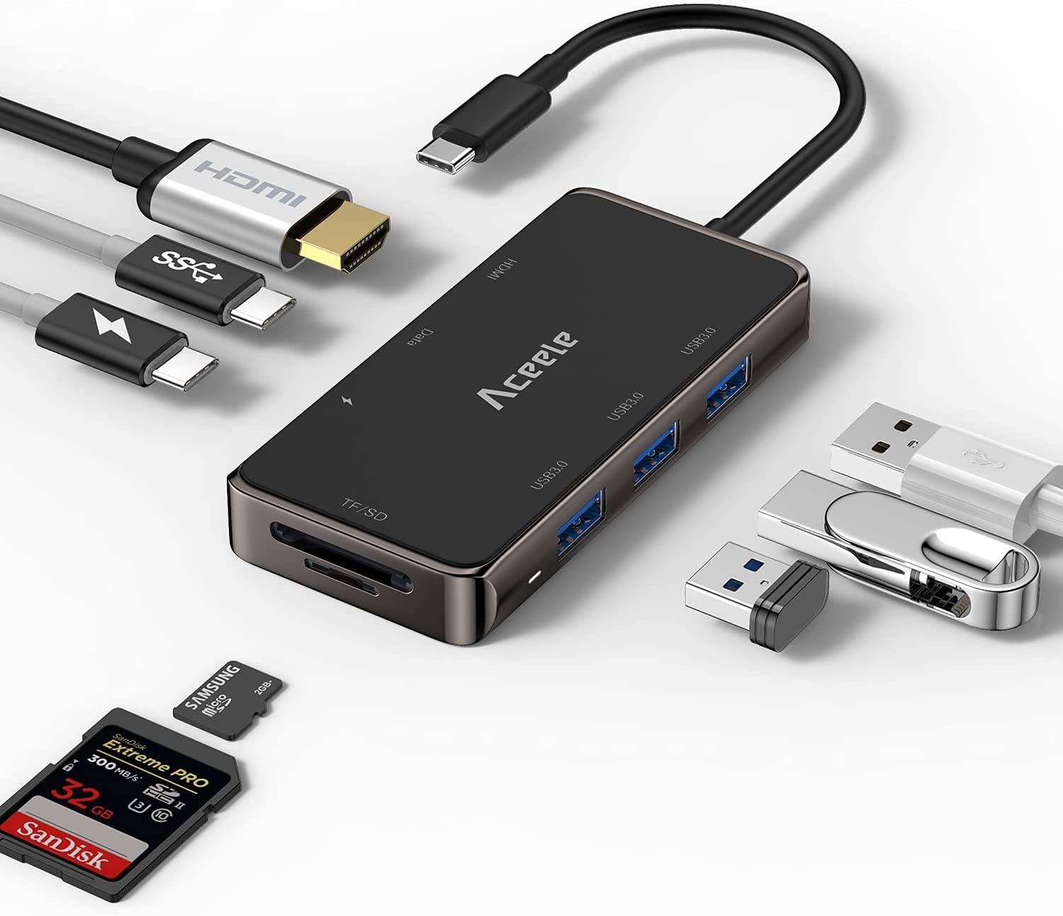 USB C Hub, USB Hub to HDMI Multiport Aceele 8 in 1 USB C Adapter with 3 USB 3.0, USB C to 4K HDMI, SD/TF Cards Reader, Dual USB C(PD&Data), Suitable for MacBook Dell XPS and More Type C Devices