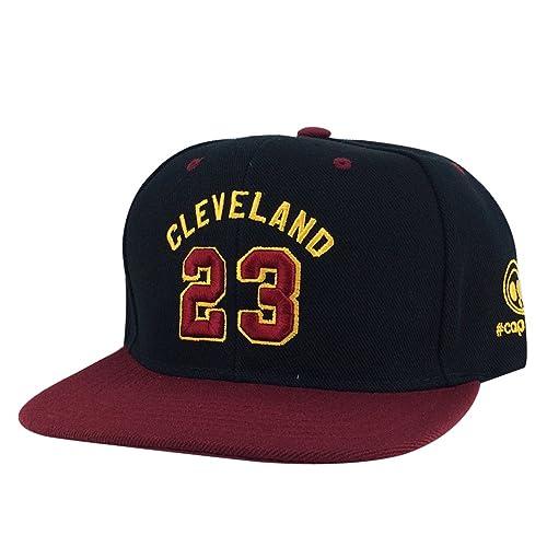 c5385013675b9 Cleveland Player  23 Black Burgundy Visor X Cavaliers Color Snapback Hat Cap
