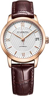 STARKING Watch Women Red Leather Skeleton AL0187 Burgundy Self Wind Automatic Stainless Steel Waterproof