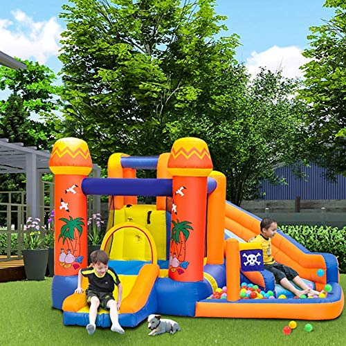 Pool Kids Bouncy Castle Inflatable Water Slide? Inflatable Outdoor Garden Jumper House Activity Play Center for Outdoor Indoor with Electric Air Blower Oxford Summer
