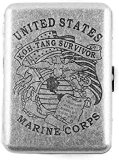 MyLifeUNIT Copper Cigarette Case, United States Marine Corps Retro Design Metal Cigarette Case, Holds 16 Cigarettes