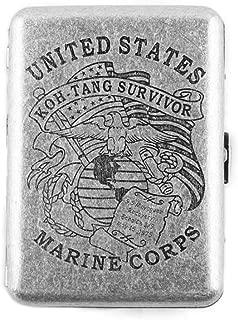 MyLifeUNIT Copper Cigarette Case, United States Marine Corps Retro Design Metal Cigarette Case, Holds 16 Cigarettes