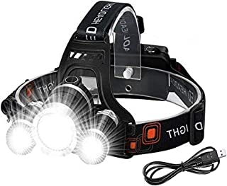 LED Headlamp Headlight Head Torch with 3 Lights 4 Modes, Super Bright Flashlight Head Torch Waterproof for Running, Campin...