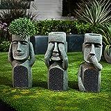 VELIHOME Outdoor Statues Decoration,Statue Path,Pathway Statues,Path Outdoor Statues,See Hear Speak No Evil Garden Easter Island Statues,Creative Garden Resin Sculpture Outdoor (ABC)