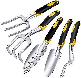 Facmogu 5 Pcs Gardening Tools Set Heavy Duty Cast-Aluminum Heads with Soft Rubberized Non-Slip Handle Including Trowel, Tr...