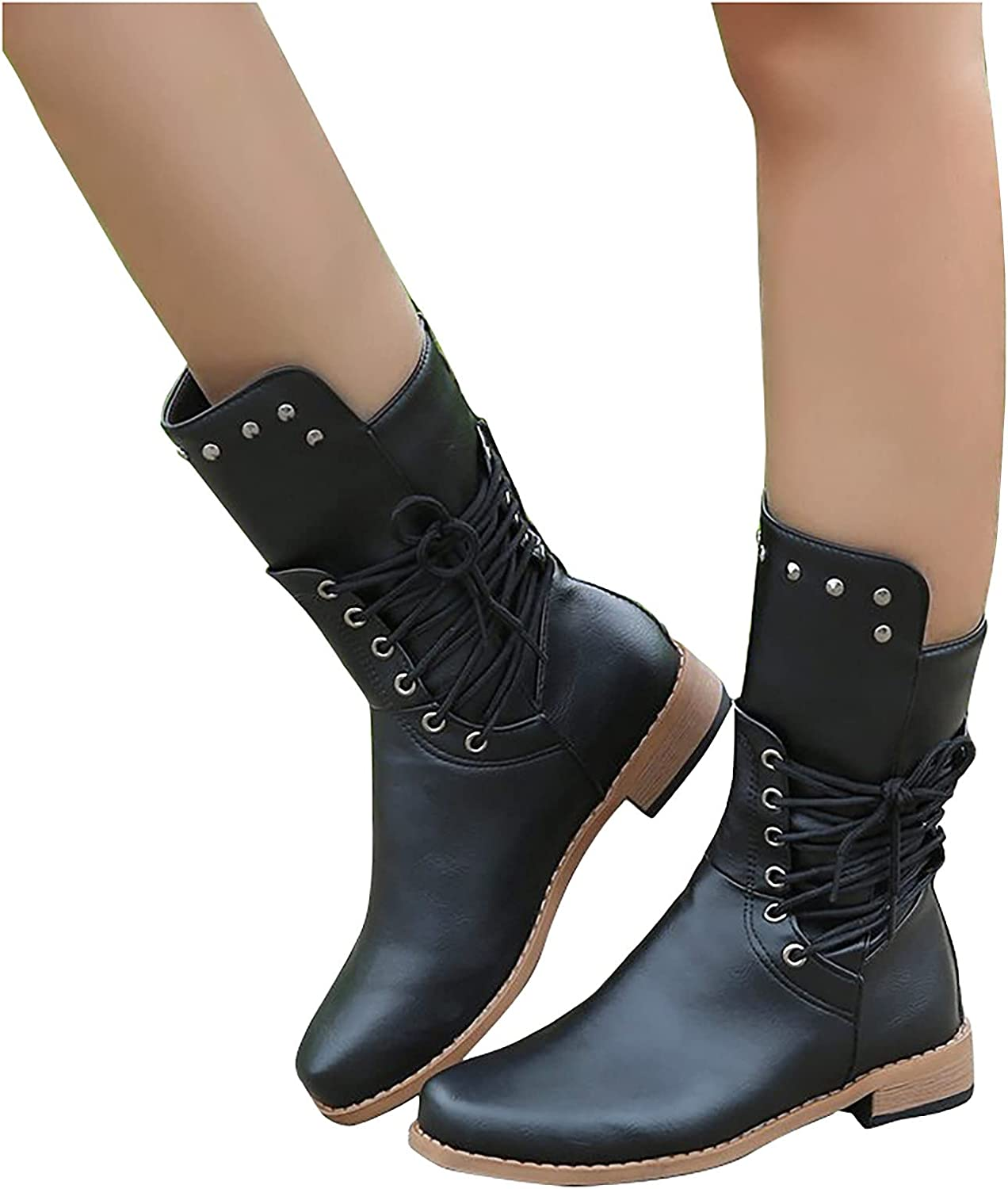 OrchidAmor Fall and Winter Ankle Boots for Women Fashion Leisure Medium Tube Plush Warm Zip Up Snow Boots Leather High-Top Round Toe Low-Heeled Snow Shoes