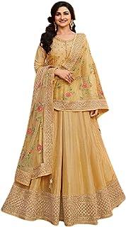Golden Designer Indian/Pakistani Muslim Women Party Ethnic Wear Dola Silk Embroidered Anarkali Long Frock Dress 6204