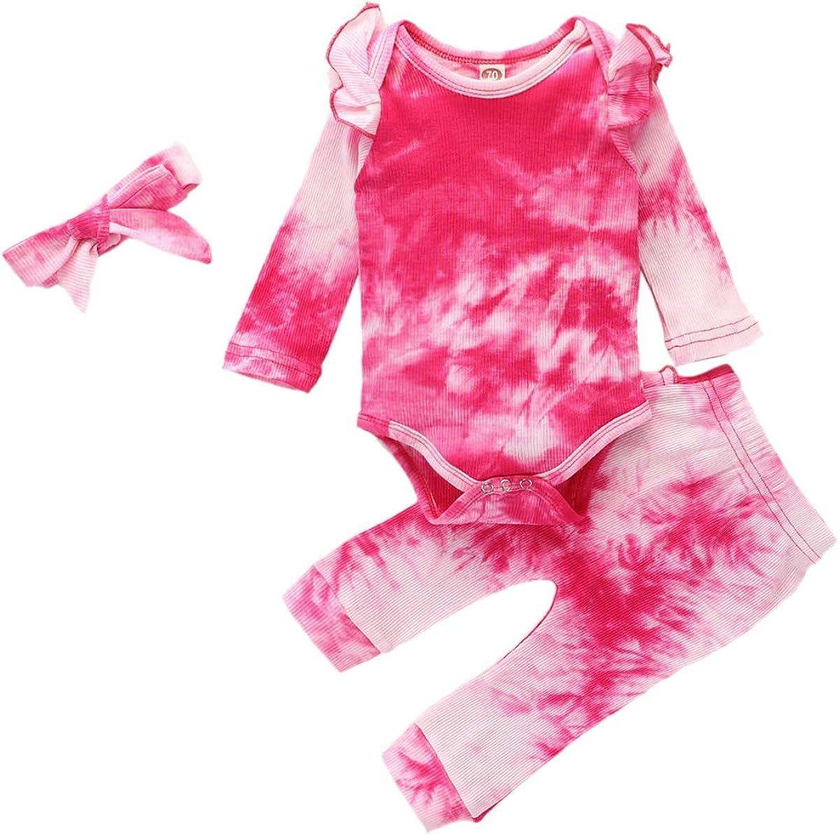 FYMNSI Baby Girls Tie Dye Outfit Knit Romper + Long Pants + Headband Pajamas Set Ribbed Ruffle Long Sleeve Sleepwear Clothes