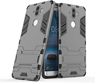 Nokia 8 Sirocco Case, Hybrid Armor Case [2 in 1] Lightweight Hard PC Cover + Flexible TPU Shock Absorption & Scratch Resistant with Kickstand for Nokia 9/Nokia 8 Sirocco (5.5 inches) - Gray