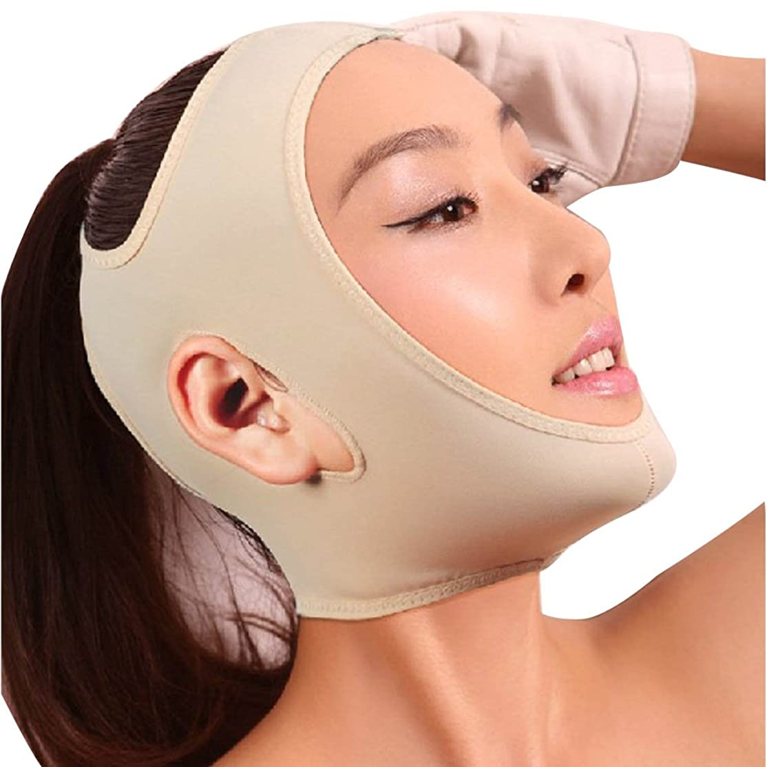 ジャニスカスタム状MakeupAccフェイスラインベルト M/L/XLサイズ 抗シワ 額、顎下、頬リフトアップ 小顔 美顔 頬のたるみ 引き上げマスク(ベージュ)【並行輸入品】 (M)
