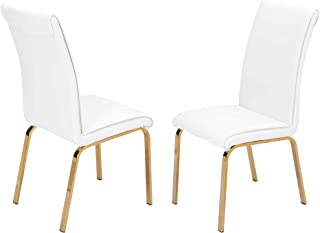 Best Quality Furniture Dining Chair Only (Set of 2), White, Gold