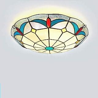 Tiffany Style Ceiling lamp Mediterranean Ceiling lamp Creative Round Ceiling lamp European Bedroom Balcony Ceiling lamp (C...