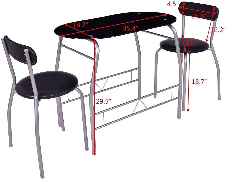 Generic m Furniture Chair Seat Pub Bar Ki Set Black Glass Set Blac Pub Bar ble De Table Desk ck Gl Kitchen Dining Room Furniture