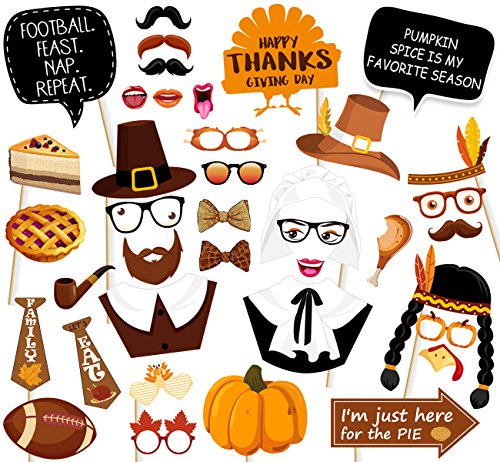47Ct Thanksgiving Day Photo Booth Props - Funny Turkey Party Decorations Supplies