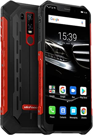 """$289 Get Ulefone Armor 6E Rugged Cell Phone Unlocked, Unlocked Cell Phones Dual Sim 4G 6.2"""" FHD Android 9.0 Helio P70,4GB+64GB,SOS+NFC+ Face ID+ UV Senso+GPS+Wireless Charge Red"""