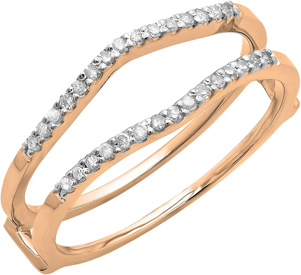Dazzlingrock Collection 0.18 Carat (ctw) Round Diamond Ladies Wedding Enhancer Double Ring, 14K Gold