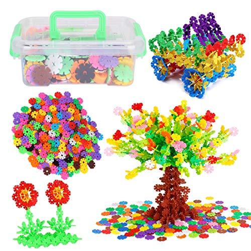 Steckbausteine Kinderspielzeug Spielzeug für Mädchen Junge Kinder Bausteine Kunststoff Schneeflocken 300 Stücke DIY Steckspiel Steckblumen Kreative Pädagogisches Lernspielzeug mit Aufbewahrungsbox