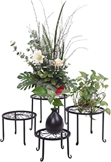 SSLine Potted Plant Stand Wrought Iron Tiered Plant Stand Outdoor Floor Flower Pot Rack 4 in 1 Metal Wire Plant Pot Holder Flower Display Shelf for Home Office Garden Patio