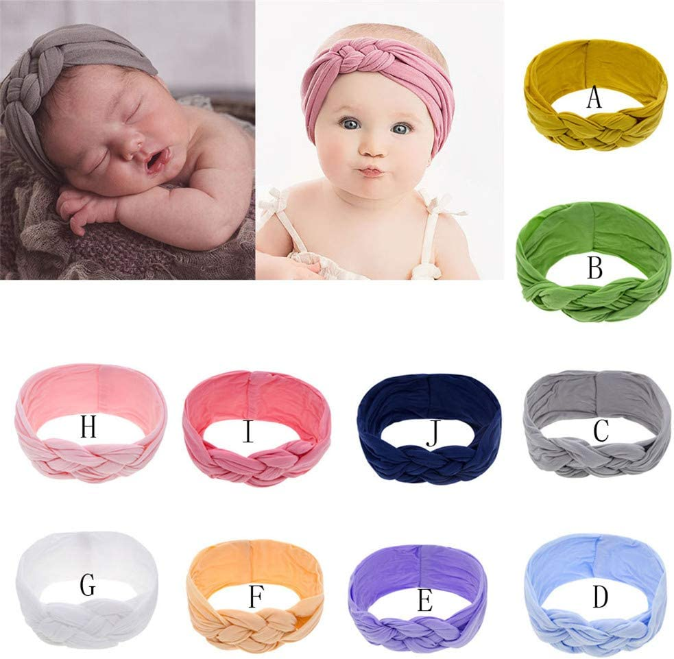 Infant Baby Girl Nylon Bow-knot Headband Newborn Headwrap Hair Accessories with Knotted Bow beige headband