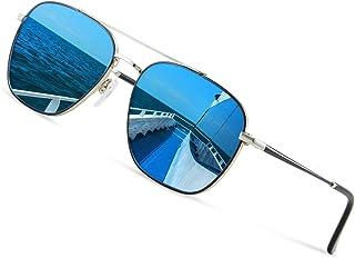 Avoalre - Gafas de Sol Aviador Gafas Polarizadas Hombre Azul de Moda de Estilo Espejo Cuadrada UV400 Marco Inoxidable Lente TAC PL Super Cómodas