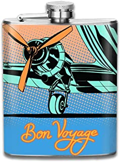 black flask Bon Voyage Retro Travel Airplane Poster Pop Art Retro Style Gifts Top Shelf Flasks Stainless Steel Flask