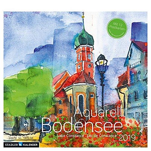Bodensee Aquarell 2019: Postkarten-Tischkalender