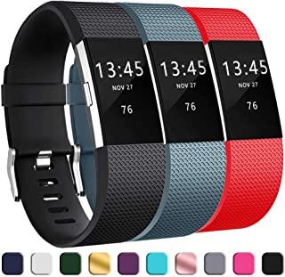 GEAK Bands for Fitbit Charge 2, Adjustable Classic Wrist Bands for Fitbit Charge 2 Bands, 3 Pack