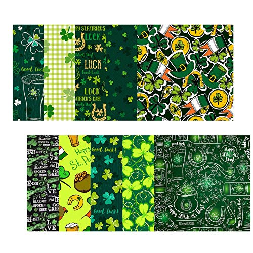 10 piezas cuadrados de tela para el día de San Patricio, tela precortada de poliéster para acolchar, patchwork, patrón de fiesta irlandés verde, trébol de duende para coser, manualidades, suministros