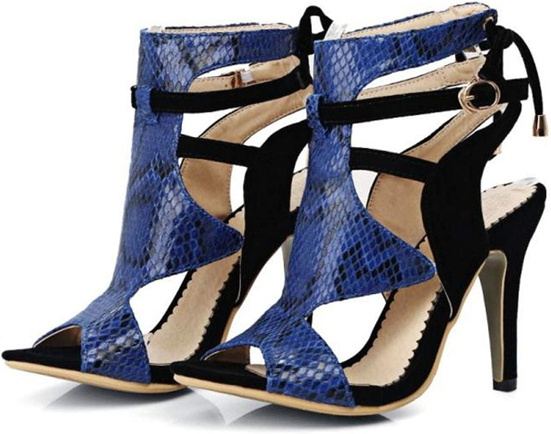 Damen-Sandalen mit hoher Heels, Peeptoe, modisch, Knchelriemen, Schnalle, hohl, Gre 32-46, Schwarz (schwarz), 34 EU