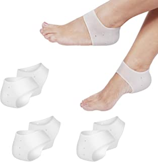 Flexzion Heel Cups, Plantar Fasciitis Inserts (3 Pairs), Silicone Socks Insoles Gel Heel Pads Cushion Protectors for Sore ...