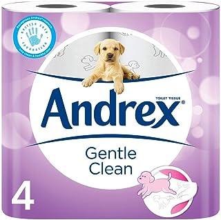Andrex Delikatne czyste chusteczki toaletowe, szczeniaki na rolce, 4 rolki