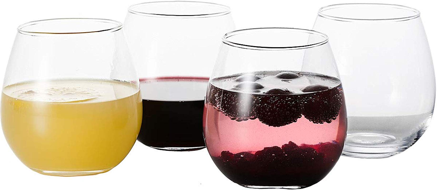 GoodGlassware Stemless Wine Glasses Set Of 4 15 Oz Crystal Clear Clarity Classic Bowl Design Perfect For Red And White Wines Lead Free Dishwasher Safe All Purpose Tumblers