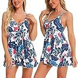 Dazzerake 2 piezas Sexy Sling Camisa de noche con cuello en V Vestido con tirolesa de cintura alta versión A-Line blanco y azul. XXL